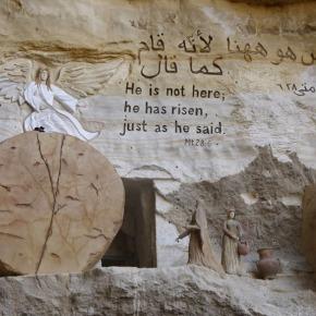 Bijbelse kunst bij de rotskerk inCairo