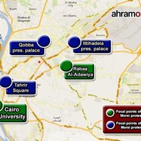 Locaties demonstraties inCaïro