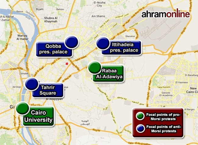 Al Ahram map protests in Cairo