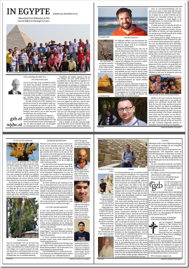 In Egypte nieuwsbrief 14 x december 2013 2x2