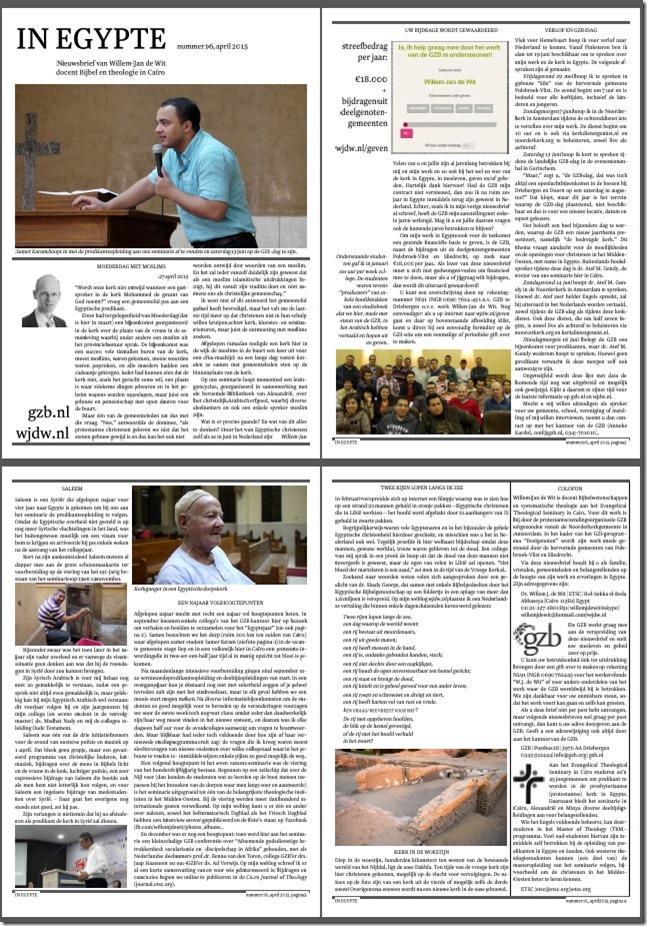 Willem-Jan de Wit Nieuwsbrief in Egypte 16 April 2015