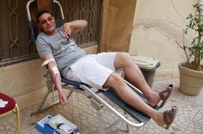 Bloed geven in debuitenlucht