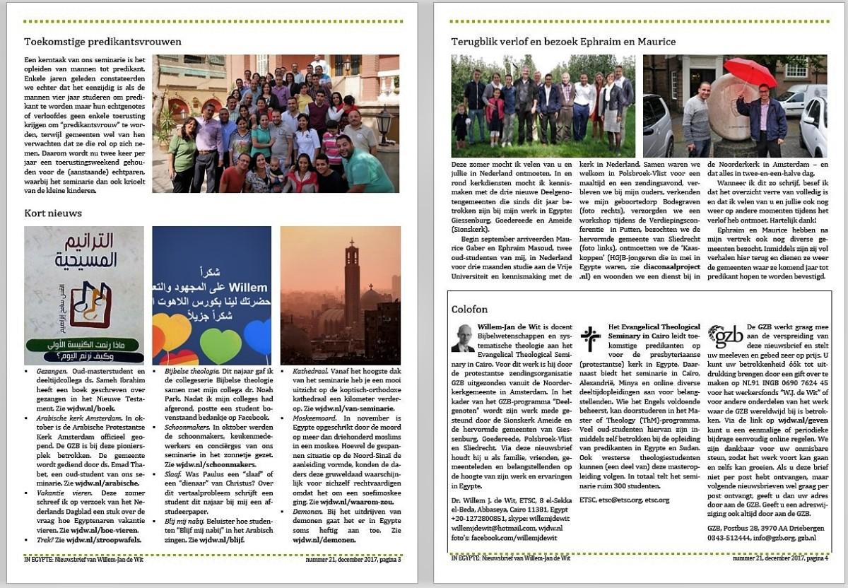 Nieuwsbrief december 2017: De Reformatie in Egypte